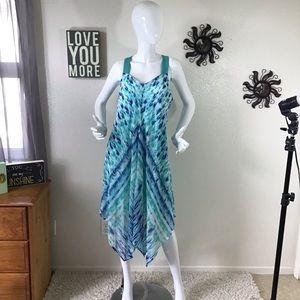 Sangria Blue Tie Dye Chiffon Dress Size 12